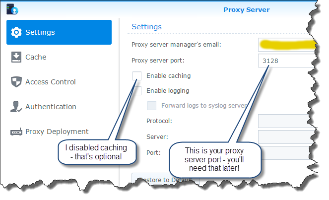 Proxy server settings updated