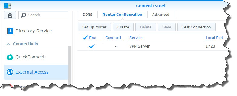The router rule in DSM control panel