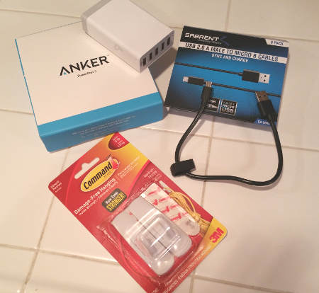 Charger, cables, and adhesive