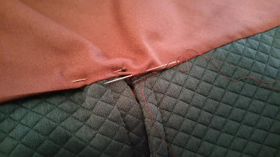Slip-stitching the doublet lining
