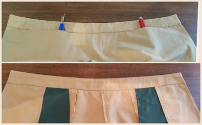 Pants front waistband attached