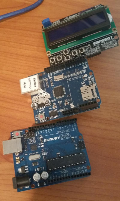 The Arduino and shields, ready to stack