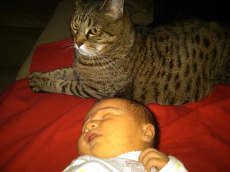 Xev with newborn Phoenix