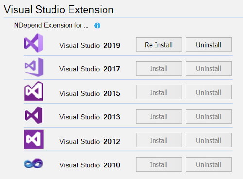 Install NDepend extension for VS