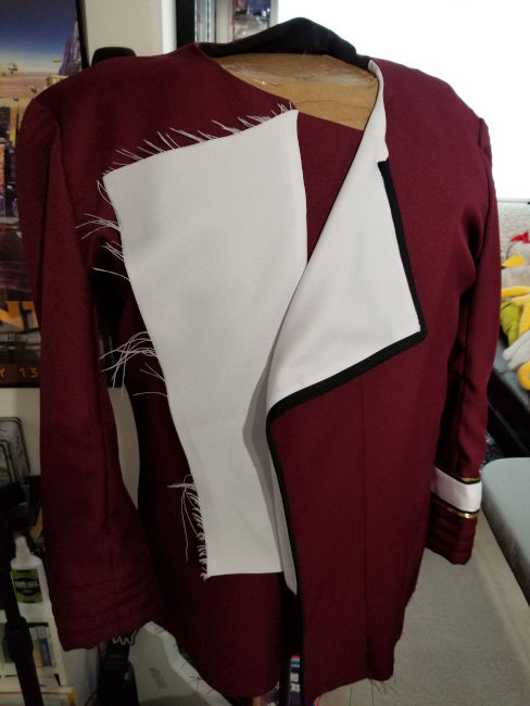 September 22, 2019: Starting the front jacket facings
